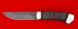 """Охотничий нож """"Бурундук"""", клинок дамасская сталь, рукоять кожа, металл"""