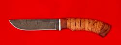 """Нож """"Грибник"""", клинок дамасская сталь, рукоять береста"""