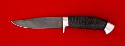 """Нож """"Сокол"""", клинок дамасская сталь, рукоять кожа, металл"""