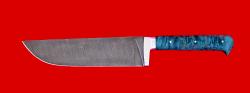 """Нож """"Узбекский большой"""", цельнометаллический, клинок дамасская сталь, рукоять стабилизированная карельская береза (цвет зелёный)"""