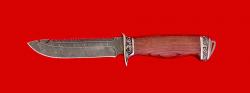 """Нож """"Рыбацкий-4"""", клинок дамасская сталь, рукоять бубинга, мельхиор"""