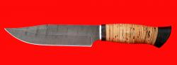 """Нож """"Промысловый большой"""", клинок дамасская сталь, рукоять береста"""
