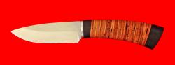 """Охотничий нож """"Соболь"""", клинок порошковая сталь ELMAX, рукоять береста"""