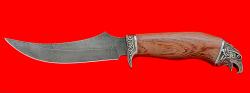 """Охотничий нож """"Горностай"""", клинок дамасская сталь, рукоять бубинга, мельхиор"""