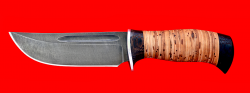 """Охотничий нож """"Зубр-2"""", клинок дамасская сталь, рукоять береста"""