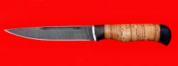 """Нож """"Походный"""", клинок дамасская сталь, рукоять береста"""