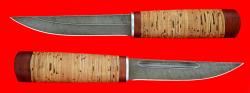 """Охотничий нож """"Якутский средний"""", клинок дамасская сталь, рукоять береста"""