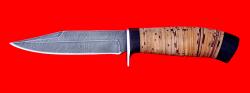 """Нож """"Гюрза"""", клинок дамасская сталь, рукоять береста"""