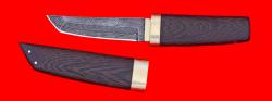 """Нож """"Самурай малый"""", клинок торцевой дамаск, рукоять венге, деревянный чехол"""