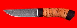 """Охотничий нож """"Бурундук"""", клинок дамасская сталь, рукоять береста"""