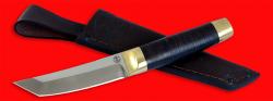 """Нож """"Самурай малый"""", клинок порошковая сталь ELMAX, рукоять кожа, латунь"""