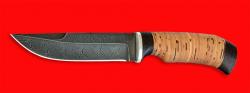 """Охотничий нож """"Классик"""", клинок дамасская сталь, рукоять береста"""