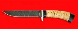 """Охотничий нож """"Абориген"""", клинок дамасская сталь, рукоять береста"""