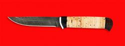 """Нож """"Пума"""", клинок дамасская сталь, рукоять береста"""