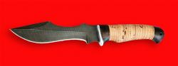 """Нож """"Кайман"""", клинок дамасская сталь, рукоять береста"""
