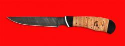 """Нож """"Иртыш"""", клинок дамасская сталь, рукоять береста"""
