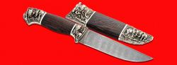 """Авторский нож """"Сафари"""", клинок дамасская сталь, рукоять венге, мельхиор"""