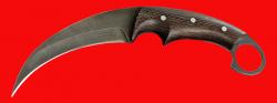 """Нож-керамбит """"Коготь тигра"""", цельнометаллический, клинок дамасская сталь, рукоять венге"""