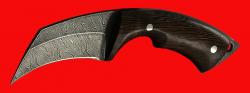 "Нож-керамбит ""Коготь собаки"", цельнометаллический, клинок дамасская сталь, рукоять венге"