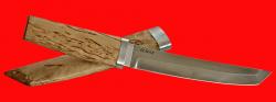 """Нож """"Самурай большой"""", клинок порошковая сталь ELMAX, рукоять карельская берёза, деревянный чехол"""