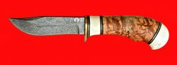 """Булатный нож """"Филин"""", клинок тигельный булат, рукоять наборная стабилизированная карельская береза (цвет натуральный), рог лося, кожа-латунь"""