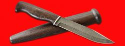 """Нож охотничий """"Профессиональный таежный № 1"""", клинок дамасская сталь, рукоять венге, деревянный чехол"""