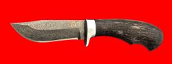 """Булатный нож """"Филин"""", клинок тигельный булат, рукоять стабилизированная карельская берёза (цвет чёрный)"""
