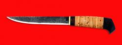 """Нож """"Карелия №3"""", ручная ковка, клинок сталь 9ХС, рукоять береста"""