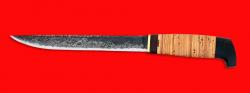"""Нож """"Карелия №4"""", ручная ковка, клинок сталь 9ХС, рукоять береста"""