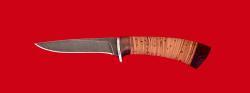 """Нож """"Лисица"""", клинок дамасская сталь, рукоять береста"""
