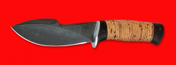 """Нож """"Сплав"""", клинок дамасская сталь, рукоять береста"""