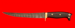 """Филейный нож """"Судак большой"""", цельнометаллический, клинок дамасская сталь, рукоять карбон, фигурные штифты"""