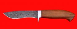"""Охотничий нож """"Вальдшнеп-2"""", клинок дамасская сталь, рукоять орех"""