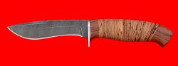"""Охотничий нож """"Вальдшнеп-2"""", клинок дамасская сталь, рукоять береста"""