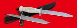 """Нож разведчика НР-43 """"Вишня"""", разборный, два клинка из стали У8 + ELMAX, рукоять пластмасса (цвет белый)"""